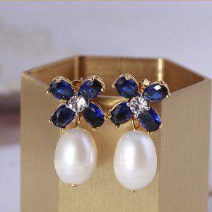 Tory Burch Blue Crystal Flower Pearl Earrings